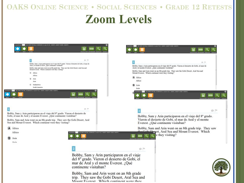 Zoom Levels OAKS O NLINE S CIENCE S OCIAL S CIENCES G RADE 12 R ETESTS