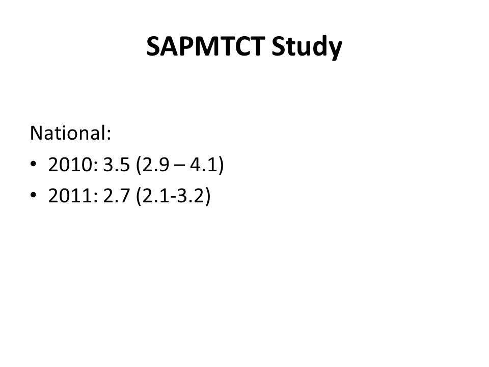 SAPMTCT Study National: 2010: 3.5 (2.9 – 4.1) 2011: 2.7 (2.1-3.2)