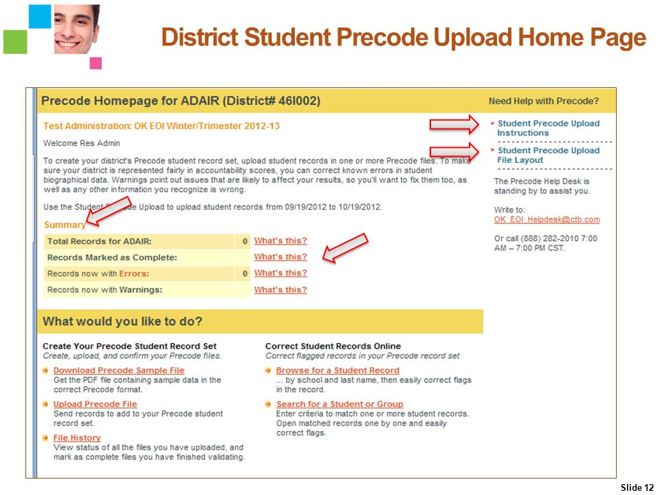 12 District Student Precode Upload Home Page Slide 12 District Student Precode Upload Home Page