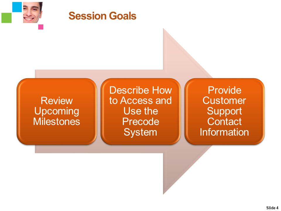 Session Goals Review Upcoming Milestones Describe How to Access and Use the Precode System Provide Customer Support Contact Information Slide 4