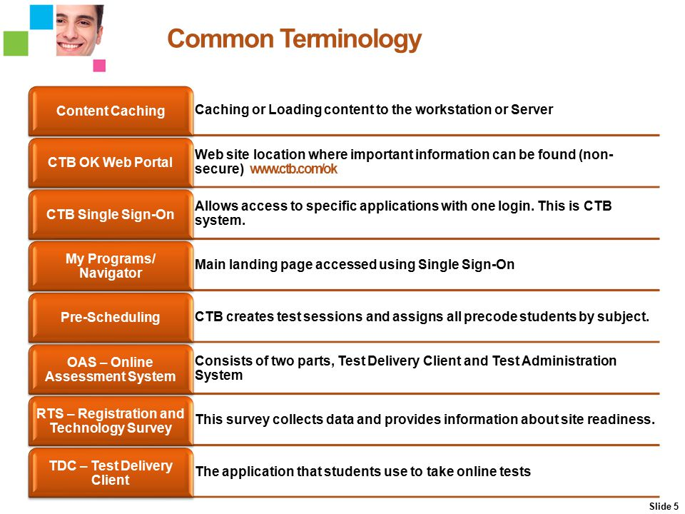 Common Terminology Slide 5 Caching or Loading content to the workstation or Server Content Caching Web site location where important information can b
