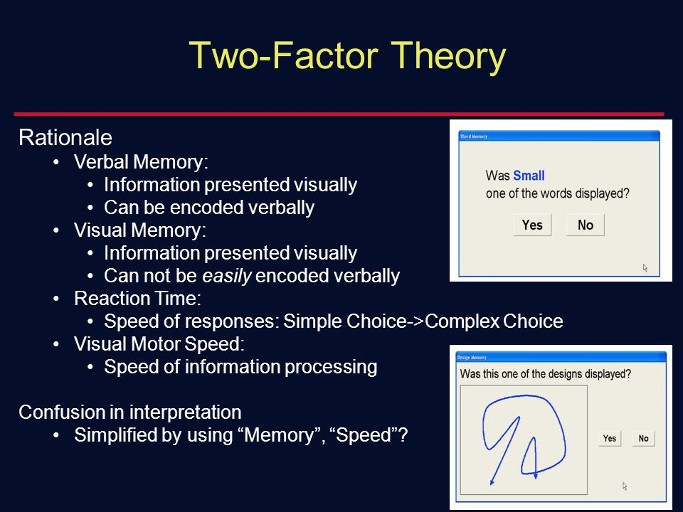 Two-Factor Theory Rationale Verbal Memory: Information presented visually Can be encoded verbally Visual Memory: Information presented visually Can not be easily encoded verbally Reaction Time: Speed of responses: Simple Choice->Complex Choice Visual Motor Speed: Speed of information processing Confusion in interpretation Simplified by using Memory , Speed