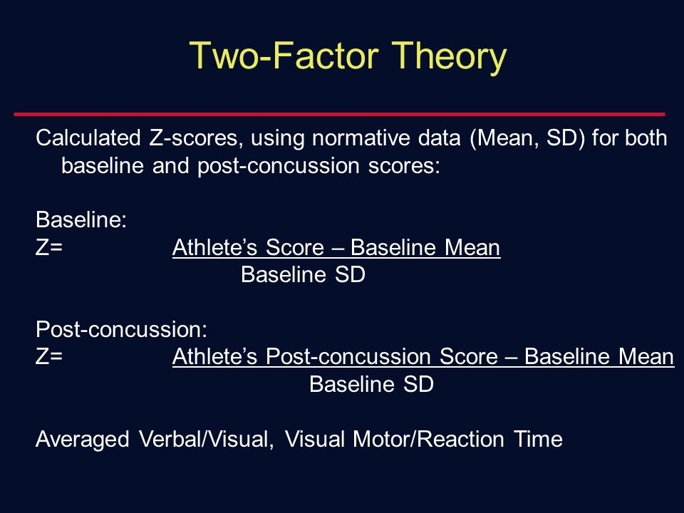 Two-Factor Theory Calculated Z-scores, using normative data (Mean, SD) for both baseline and post-concussion scores: Baseline: Z=Athlete's Score – Baseline Mean Baseline SD Post-concussion: Z=Athlete's Post-concussion Score – Baseline Mean Baseline SD Averaged Verbal/Visual, Visual Motor/Reaction Time