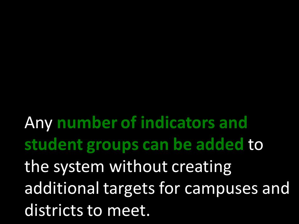 Any number of indicators and student groups can be added to the system without creating additional targets for campuses and districts to meet.