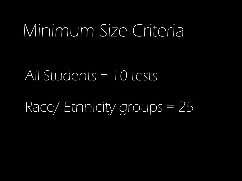 Minimum Size Criteria All Students = 10 tests Race/ Ethnicity groups = 25