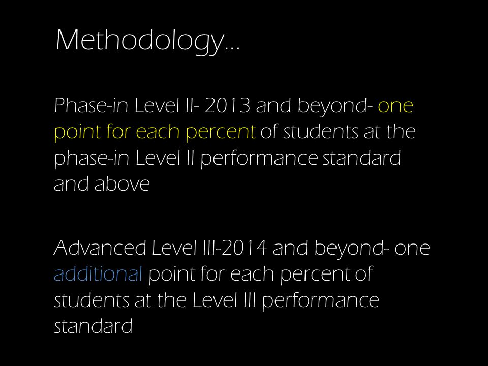 Methodology… Phase-in Level II- 2013 and beyond- one point for each percent of students at the phase-in Level II performance standard and above Advanced Level III-2014 and beyond- one additional point for each percent of students at the Level III performance standard