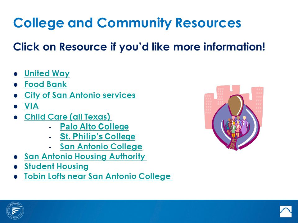 College and Community Resources Click on Resource if you'd like more information! ● United Way United Way ● Food Bank Food Bank ● City of San Antonio