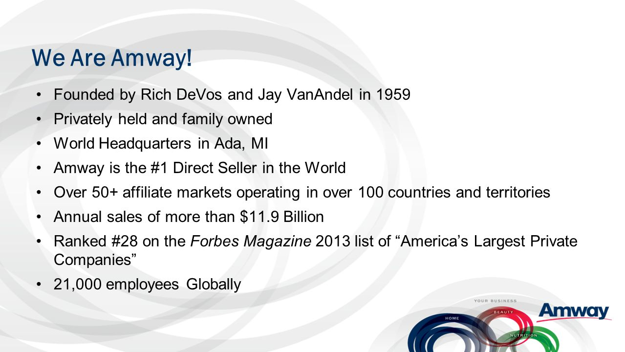 We Are Amway! Founded by Rich DeVos and Jay VanAndel in 1959 Privately held and family owned World Headquarters in Ada, MI Amway is the #1 Direct Sell