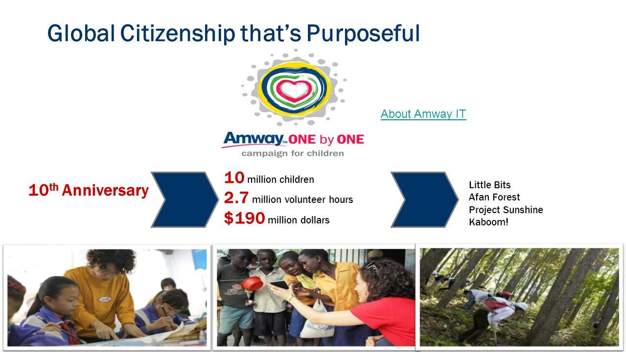 Global Citizenship that's Purposeful 10 th Anniversary 10 million children 2.7 million volunteer hours $190 million dollars Little Bits Afan Forest Project Sunshine Kaboom.