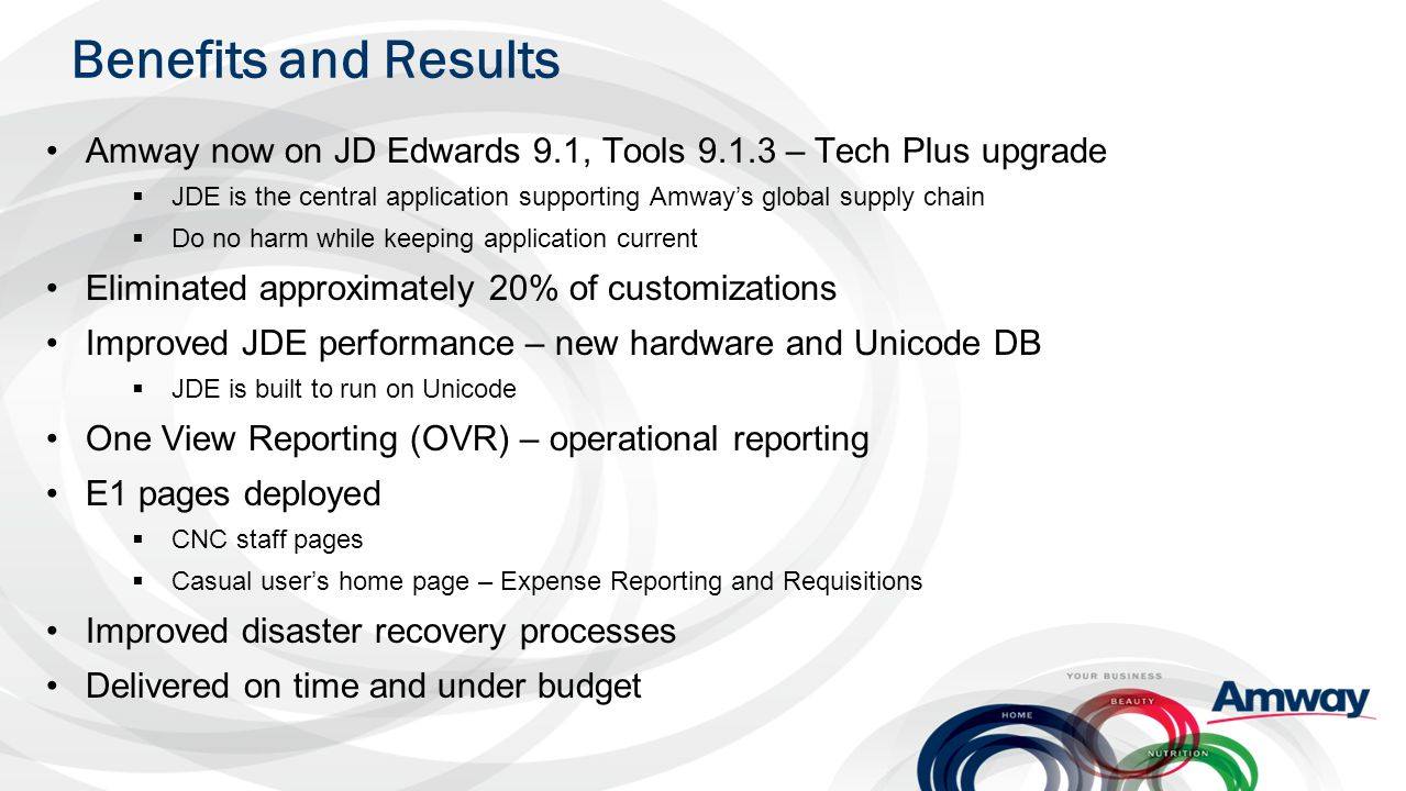 Benefits and Results Amway now on JD Edwards 9.1, Tools 9.1.3 – Tech Plus upgrade  JDE is the central application supporting Amway's global supply ch