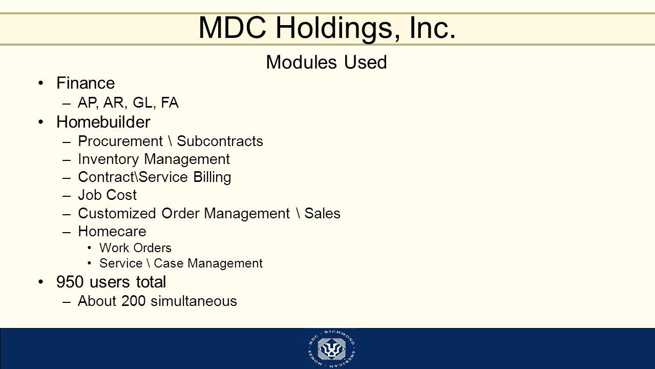 MDC Holdings, Inc.
