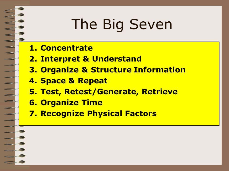 The Big Seven 1.Concentrate 2.Interpret & Understand 3.Organize & Structure Information 4.Space & Repeat 5.Test, Retest/Generate, Retrieve 6.Organize