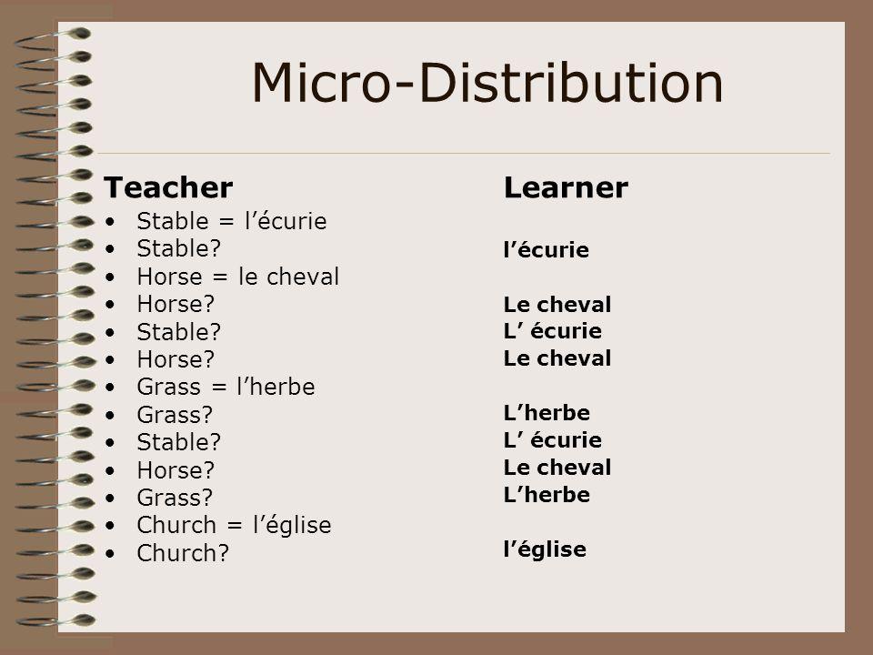 Micro-Distribution Teacher Stable = l'écurie Stable? Horse = le cheval Horse? Stable? Horse? Grass = l'herbe Grass? Stable? Horse? Grass? Church = l'é