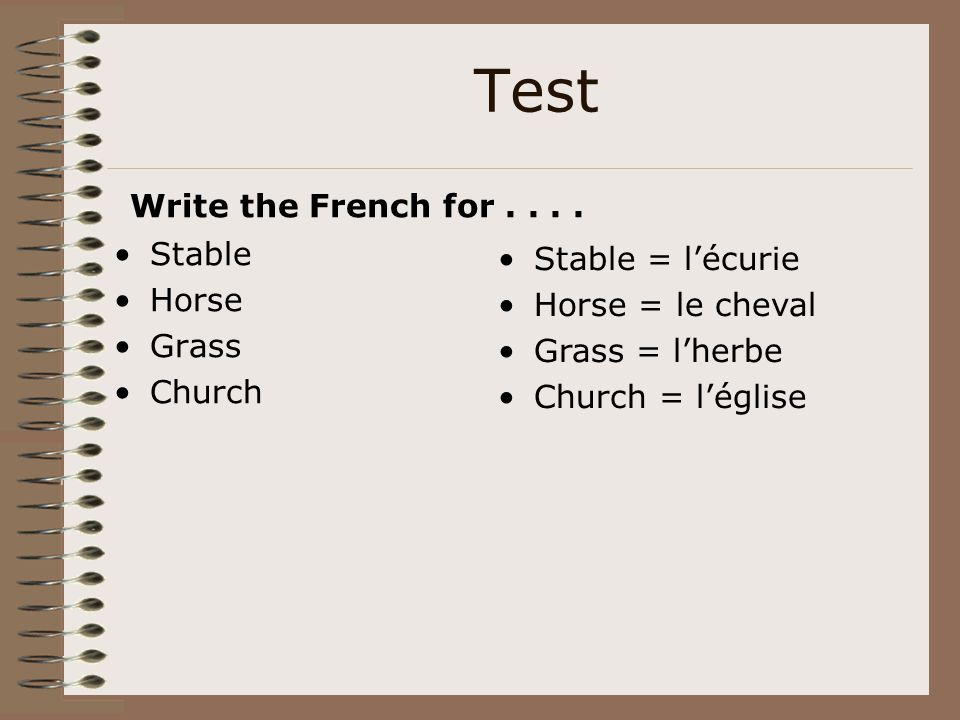 Test Stable Horse Grass Church Write the French for.... Stable = l'écurie Horse = le cheval Grass = l'herbe Church = l'église