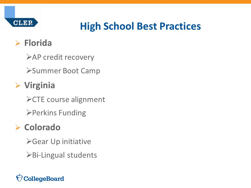  Florida  AP credit recovery  Summer Boot Camp  Virginia  CTE course alignment  Perkins Funding  Colorado  Gear Up initiative  Bi-Lingual students High School Best Practices