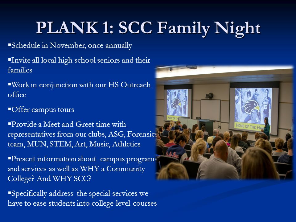 PLANK 1: SCC Family Night  Schedule in November, once annually  Invite all local high school seniors and their families  Work in conjunction with our HS Outreach office  Offer campus tours  Provide a Meet and Greet time with representatives from our clubs, ASG, Forensics team, MUN, STEM, Art, Music, Athletics  Present information about campus programs and services as well as WHY a Community College.