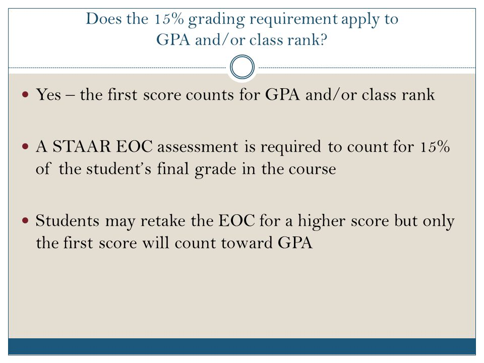 Does the 15% grading requirement apply to GPA and/or class rank.
