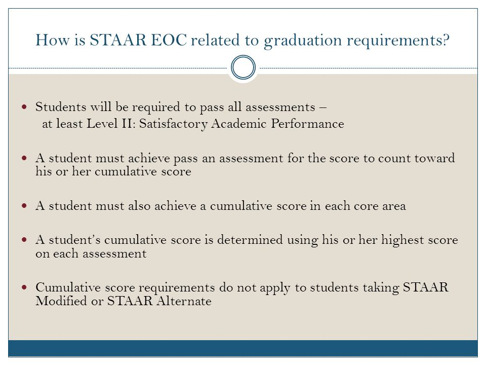 How is STAAR EOC related to graduation requirements.