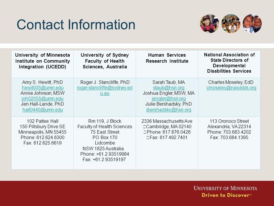 Contact Information University of Minnesota Institute on Community Integration (UCEDD) University of Sydney Faculty of Health Sciences, Australia Human Services Research Institute National Association of State Directors of Developmental Disabilities Services Amy S.
