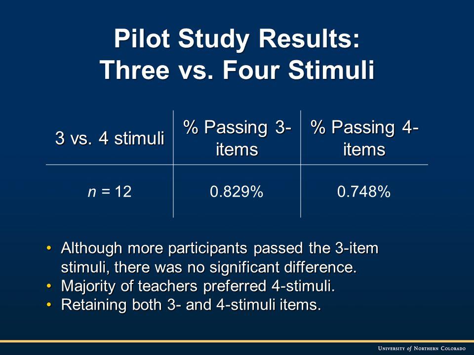 Pilot Study Results: Three vs. Four Stimuli 3 vs.