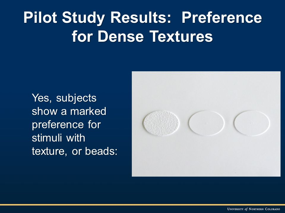 Pilot Study Results: Preference for Dense Textures Yes, subjects show a marked preference for stimuli with texture, or beads: