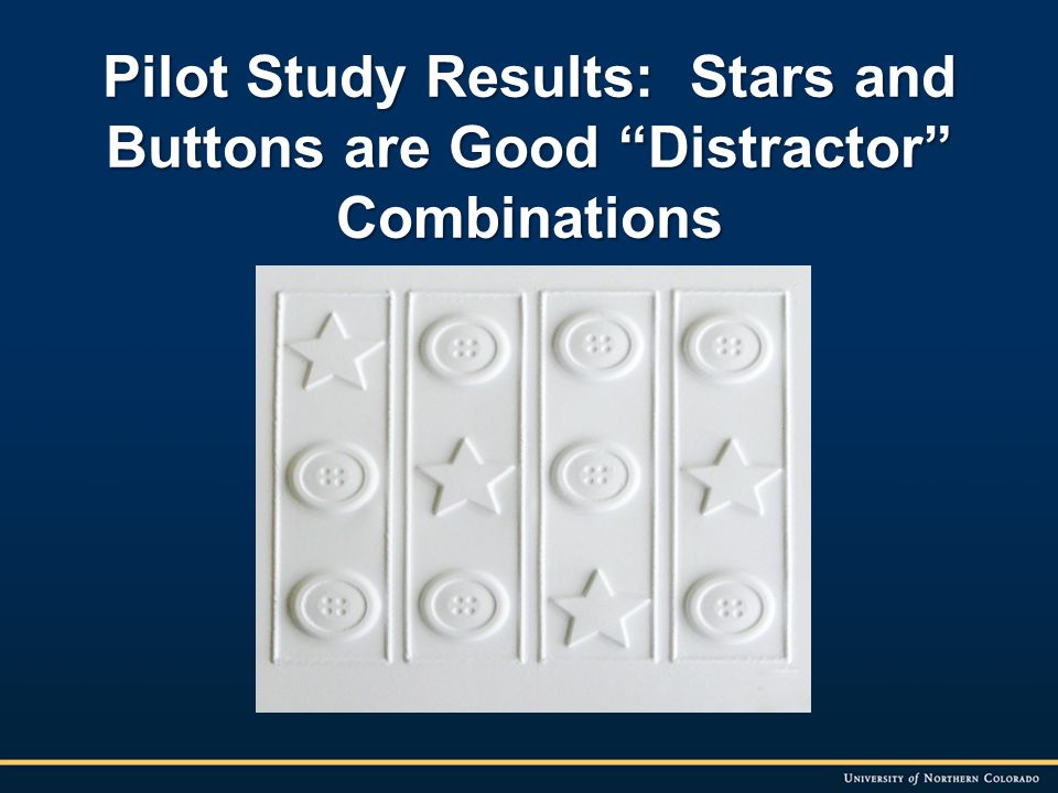 Pilot Study Results: Stars and Buttons are Good Distractor Combinations