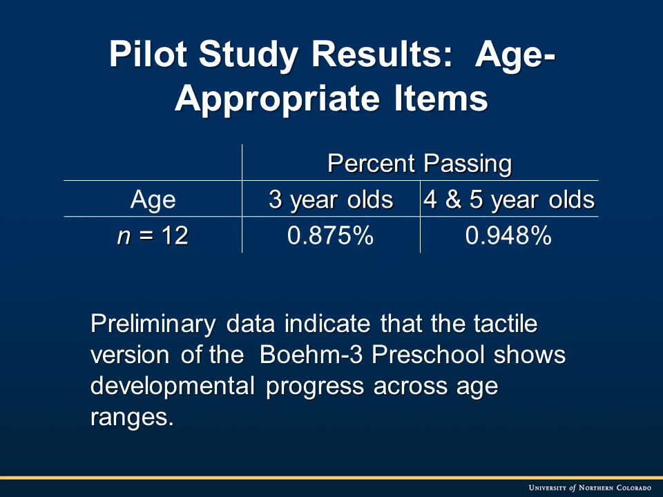 Pilot Study Results: Age- Appropriate Items Preliminary data indicate that the tactile version of the Boehm-3 Preschool shows developmental progress across age ranges.