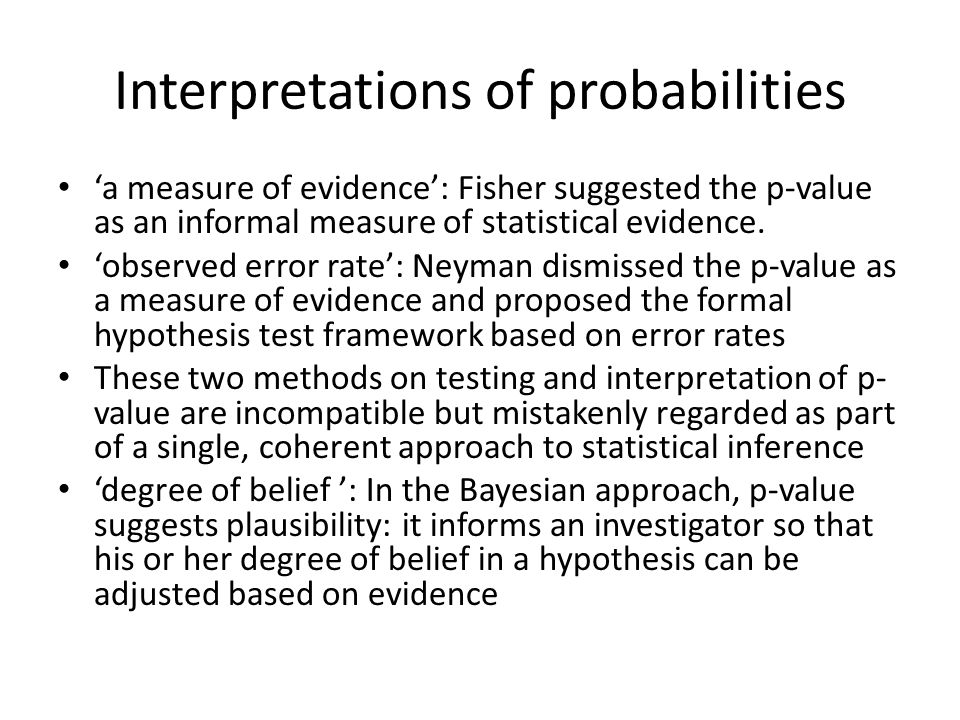 Interpretations of probabilities 'a measure of evidence': Fisher suggested the p-value as an informal measure of statistical evidence.