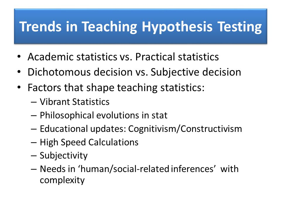 Trends in Teaching Hypothesis Testing Academic statistics vs.
