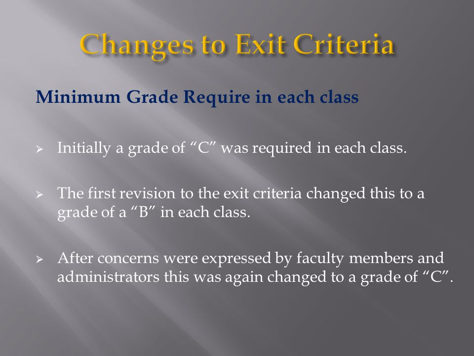 "Minimum Grade Require in each class  Initially a grade of ""C"" was required in each class.  The first revision to the exit criteria changed this to a"