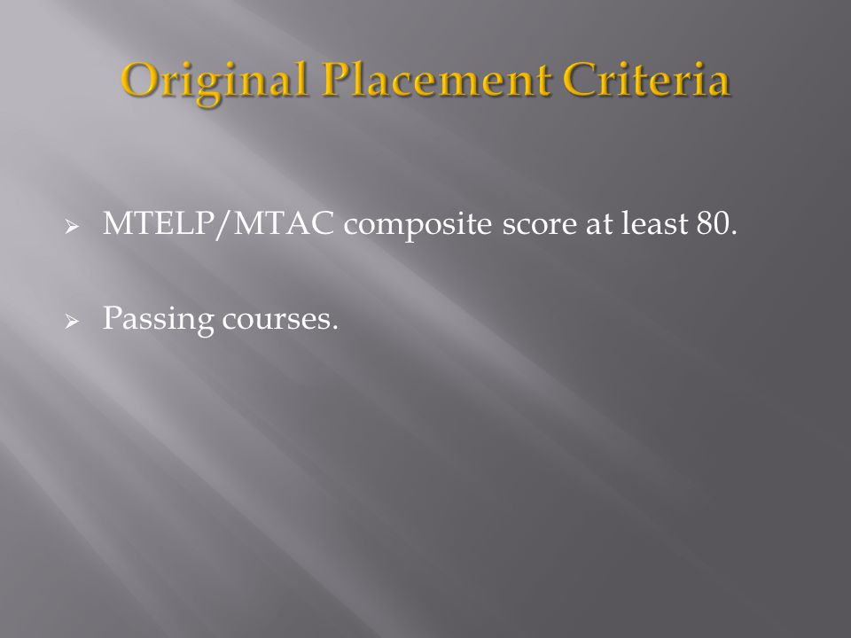  MTELP/MTAC composite score at least 80.  Passing courses.