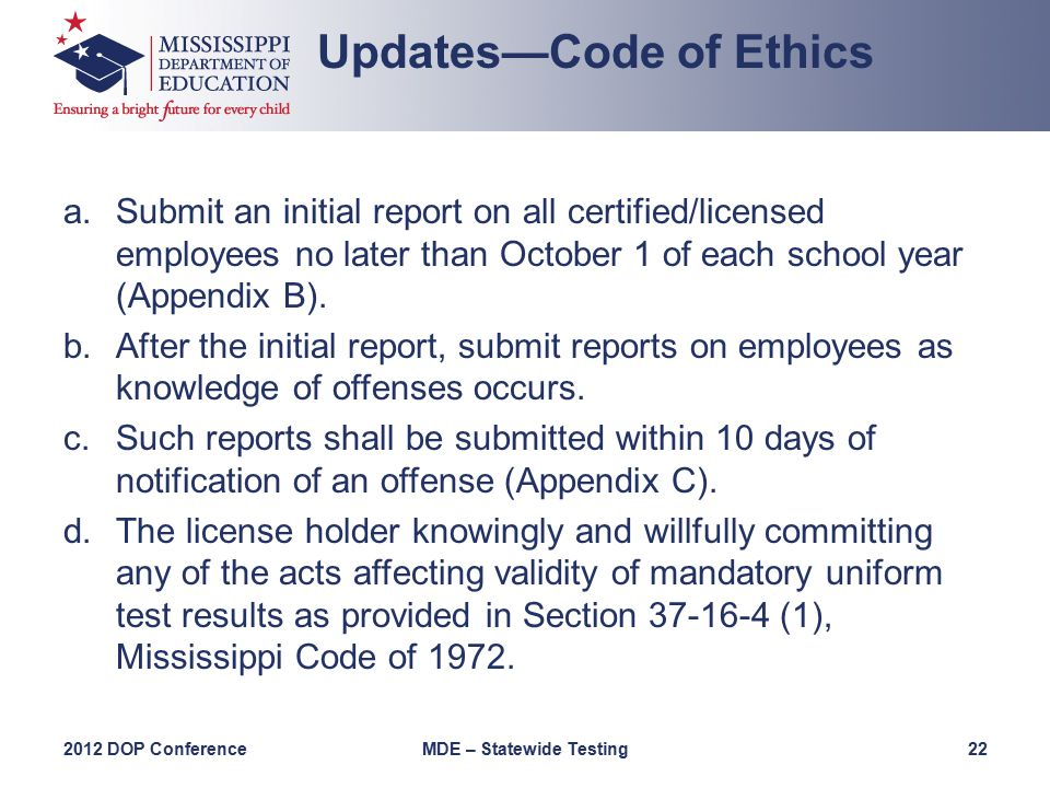 a.Submit an initial report on all certified/licensed employees no later than October 1 of each school year (Appendix B).