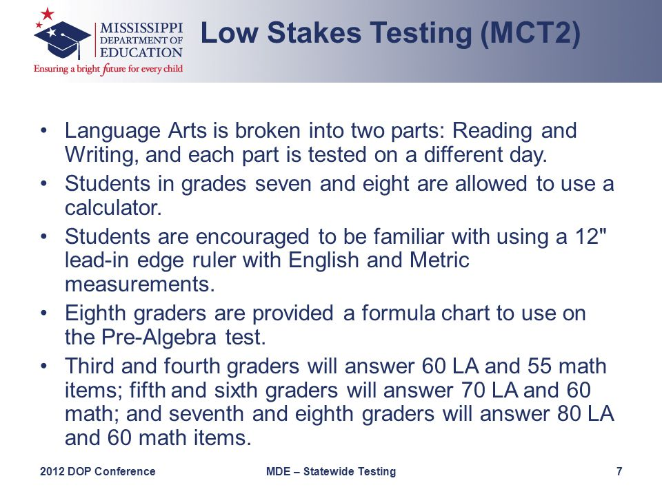 Language Arts is broken into two parts: Reading and Writing, and each part is tested on a different day.