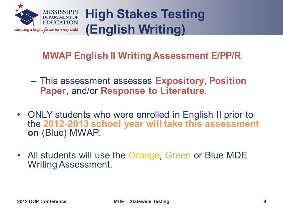 MWAP English II Writing Assessment E/PP/R –This assessment assesses Expository, Position Paper, and/or Response to Literature.