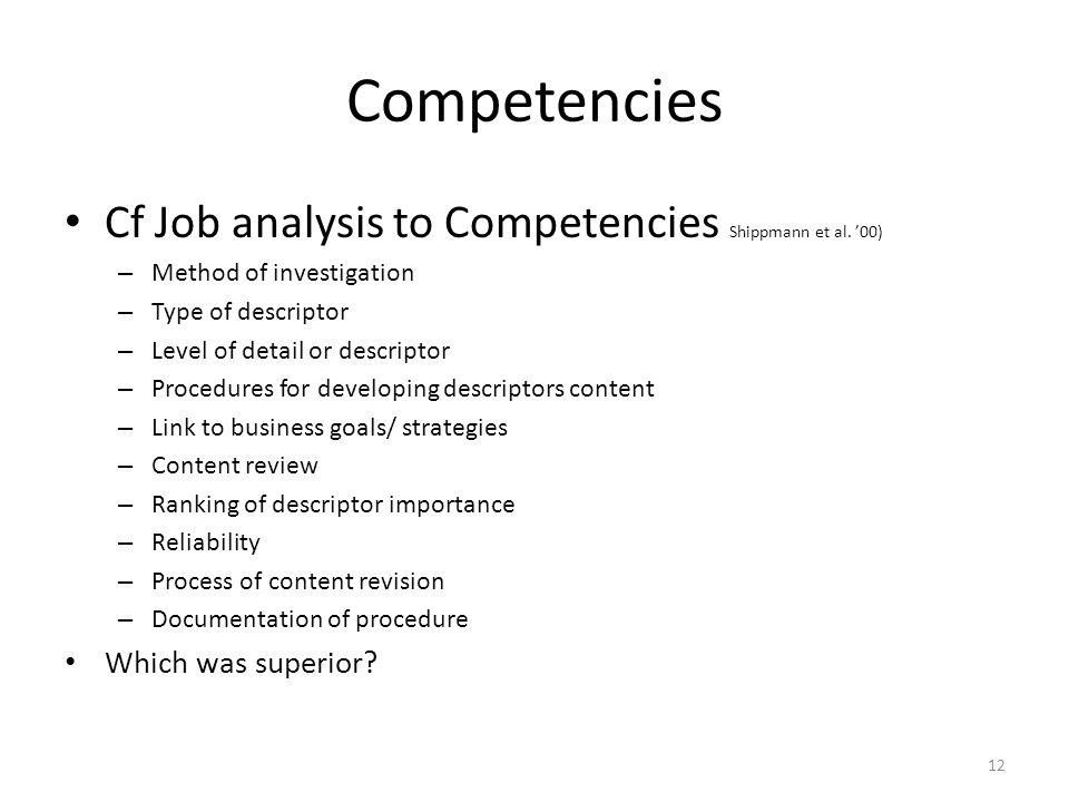 Competencies Cf Job analysis to Competencies Shippmann et al.