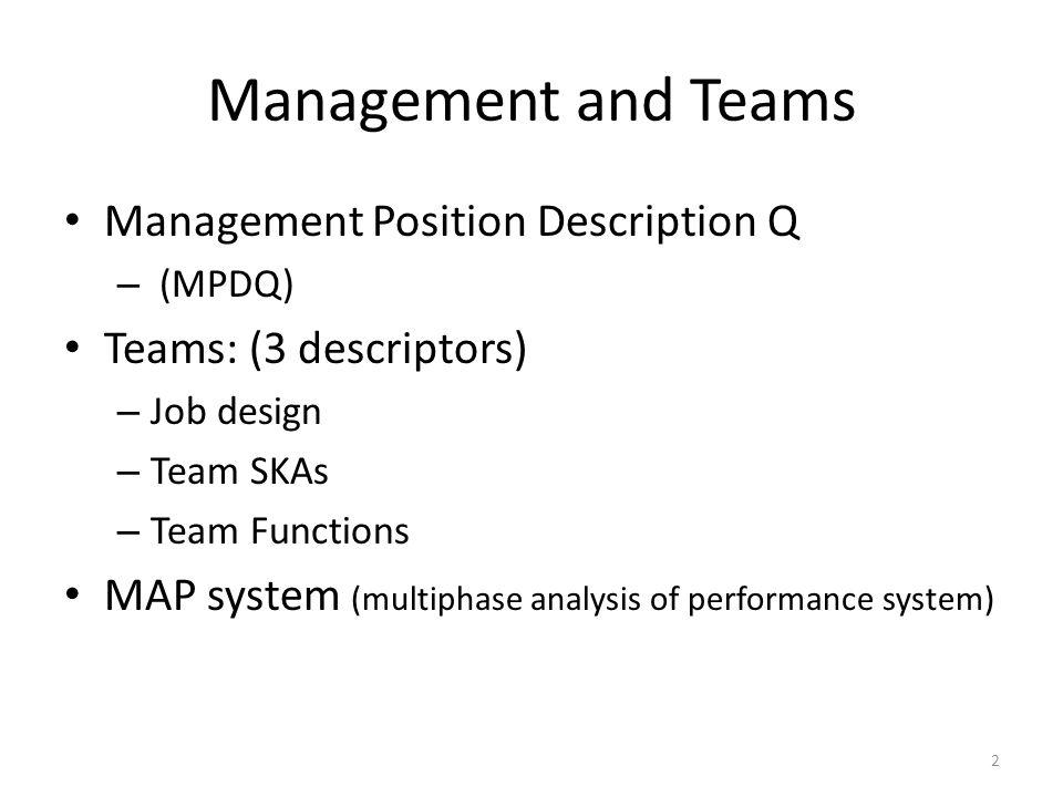 Management and Teams Management Position Description Q – (MPDQ) Teams: (3 descriptors) – Job design – Team SKAs – Team Functions MAP system (multiphase analysis of performance system) 2