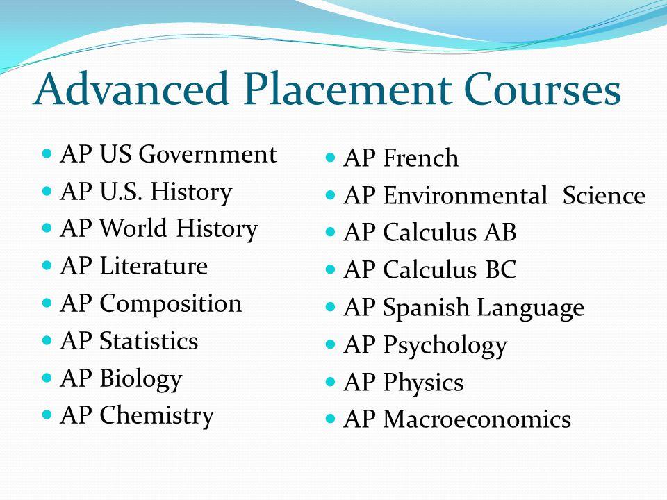 Advanced Placement Courses AP US Government AP U.S. History AP World History AP Literature AP Composition AP Statistics AP Biology AP Chemistry AP Fre