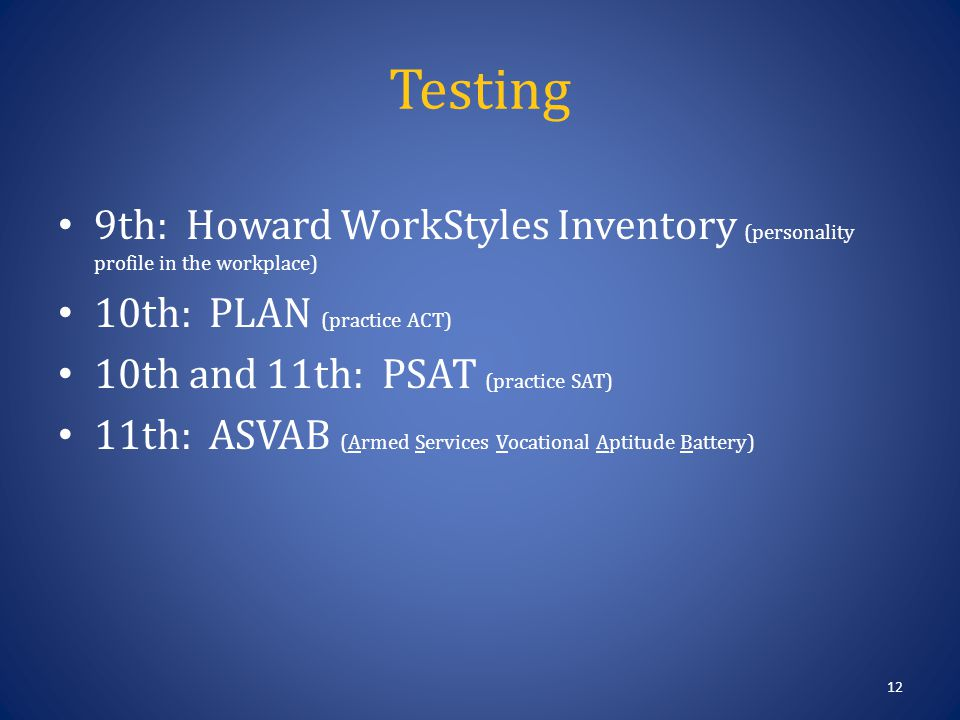 Testing 12 9th: Howard WorkStyles Inventory (personality profile in the workplace) 10th: PLAN (practice ACT) 10th and 11th: PSAT (practice SAT) 11th: ASVAB (Armed Services Vocational Aptitude Battery)
