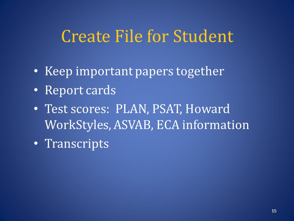 Create File for Student 15 Keep important papers together Report cards Test scores: PLAN, PSAT, Howard WorkStyles, ASVAB, ECA information Transcripts