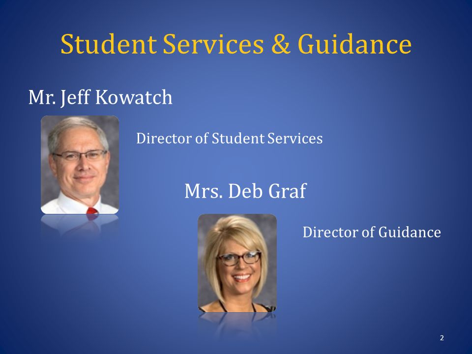 Student Services & Guidance 2 Mr. Jeff Kowatch Director of Student Services Mrs.