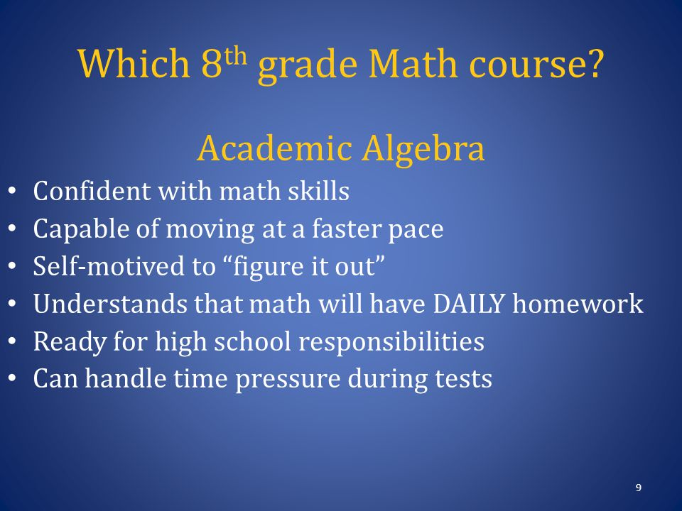 Pre-Algebra Student does OK in math, but not ready to skip a grade Student struggles with basic math skills (fact tables, fractions) Parent helps with math homework on a regular basis Student scores well on homework, but not on tests.