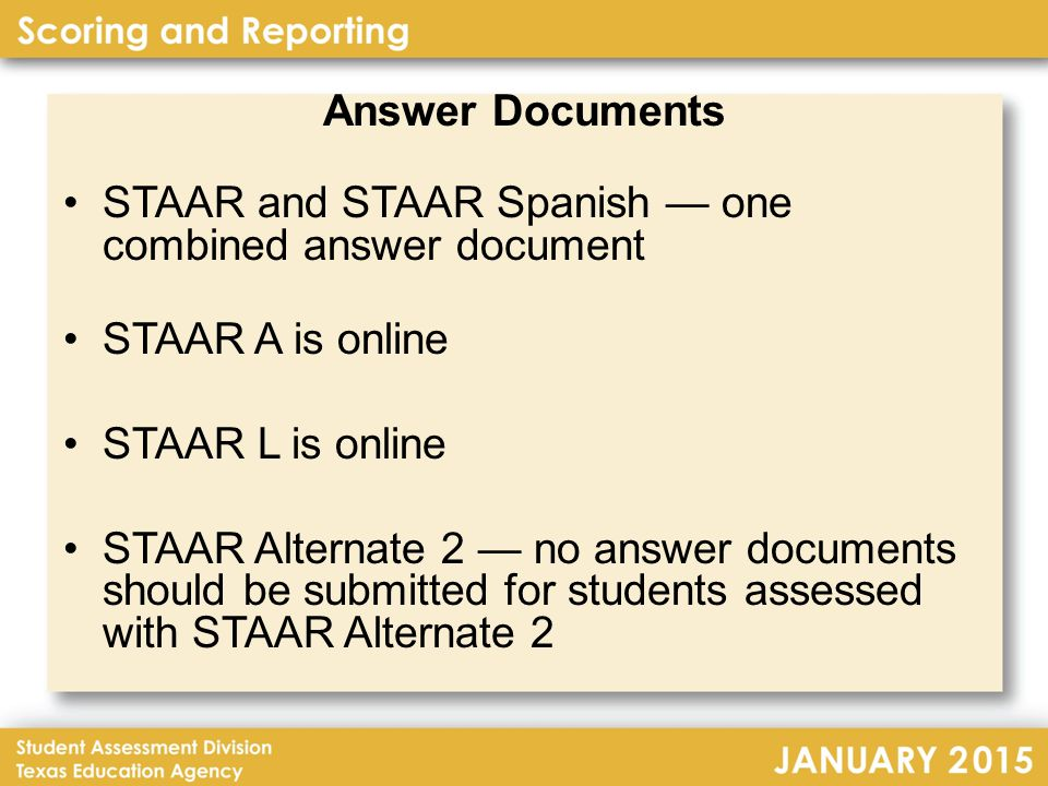 EOC Reporting – Summaries (continued) Combined Summary – one page for each subject with each applicable test version (STAAR, STAAR L, and STAAR A) with totals for the subject across all applicable test versions; All Students, First-time Tested Students, and Retested Students