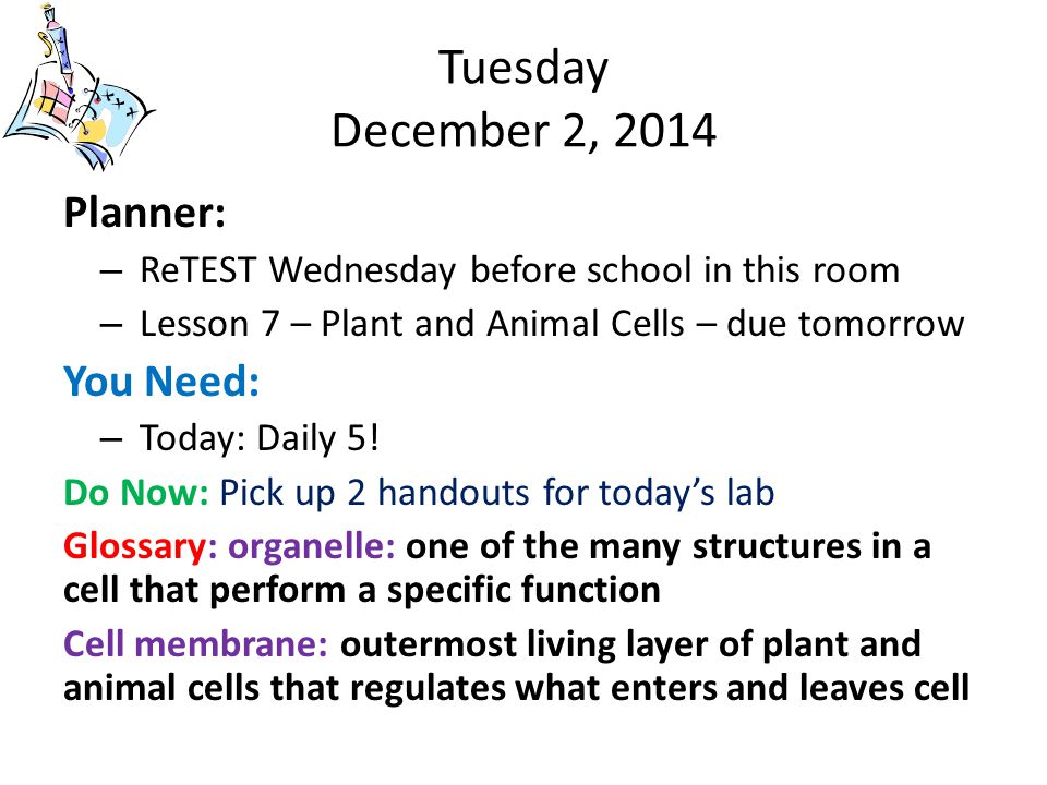 Tuesday December 2, 2014 Planner: – ReTEST Wednesday before school in this room – Lesson 7 – Plant and Animal Cells – due tomorrow You Need: – Today: Daily 5.