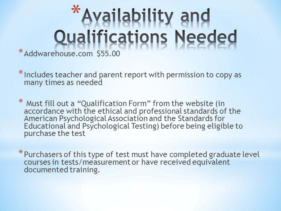 """* Addwarehouse.com $55.00 * Includes teacher and parent report with permission to copy as many times as needed * Must fill out a """"Qualification Form"""""""