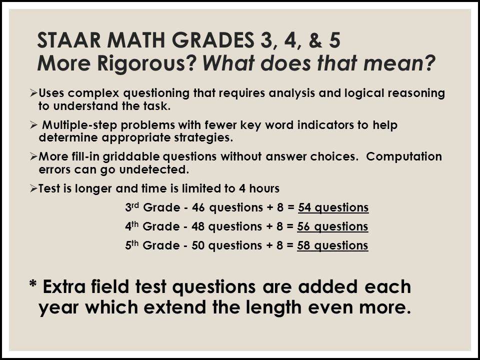 STAAR MATH GRADES 3, 4, & 5 More Rigorous. What does that mean.