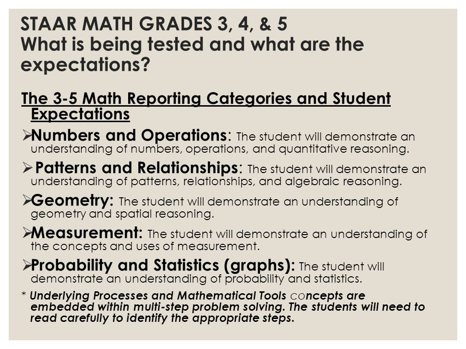 STAAR MATH GRADES 3, 4, & 5 What is being tested and what are the expectations.