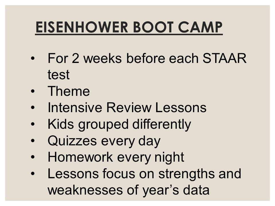 EISENHOWER BOOT CAMP For 2 weeks before each STAAR test Theme Intensive Review Lessons Kids grouped differently Quizzes every day Homework every night Lessons focus on strengths and weaknesses of year's data