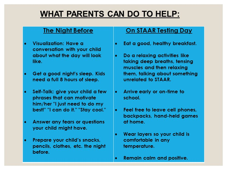 The Night Before  Visualization: Have a conversation with your child about what the day will look like.