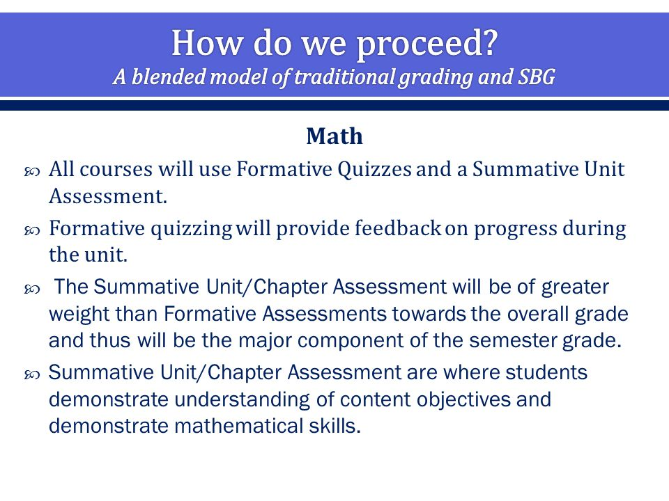 Math  All courses will use Formative Quizzes and a Summative Unit Assessment.