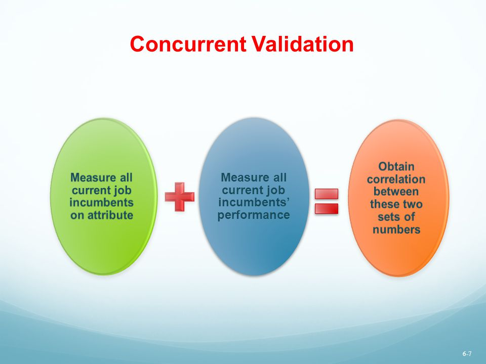 Concurrent Validation Measure all current job incumbents on attribute Measure all current job incumbents' performance Obtain correlation between these